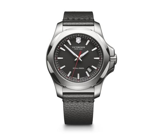 Victorinox Swiss Army I.N.O.X.  Black Dial Black Leather Men's Watch 241737