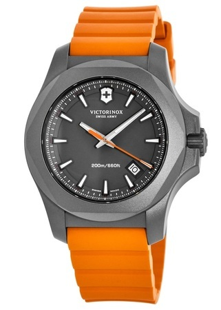 Victorinox Swiss Army I.N.O.X. Titanium  Grey Dial Orange Rubber Men's Watch 241758