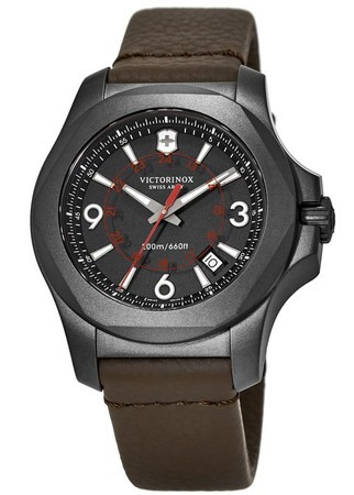 Victorinox Swiss Army I.N.O.X. Titanium  Black Dial Brown Leather Men's Watch 241778