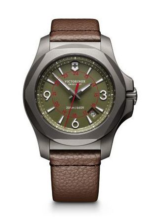 Victorinox Swiss Army I.N.O.X. Titanium  Green Dial Brown Leather Men's Watch 241779