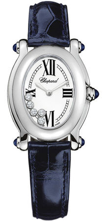Chopard Happy Sport Oval 5 Floating Diamonds  Women's Watch 277465-1005-blue