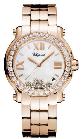 Chopard Happy Sport Medium 36mm 18kt Rose Gold Diamond Women's Watch 277481-5002