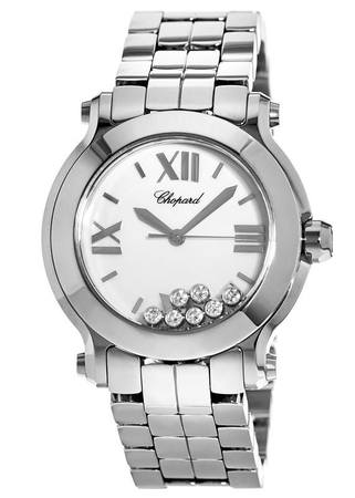 Chopard Happy Sport Medium 36mm White Dial with Seven Floating Diamonds Women's Watch 278477-3001