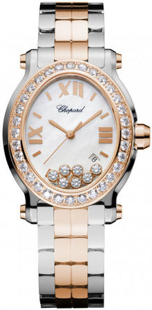 Chopard Happy Sport Oval 7 Floating Diamonds  Women's Watch 278546-6004