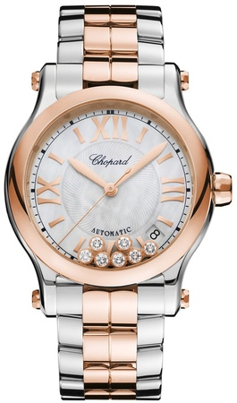 Chopard Happy Sport Medium Automatic 36mm Mother of Pearl 18K Rose Gold And Stainless Women's Watch 278559-6009