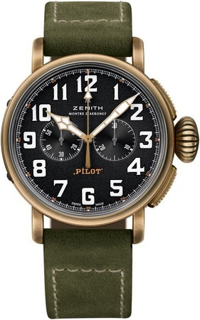 Zenith Pilot Montre d'Aeronef Type 20 Extra Special Bronze Case Green Leather Men's Watch 29.2430.4069/21.C800