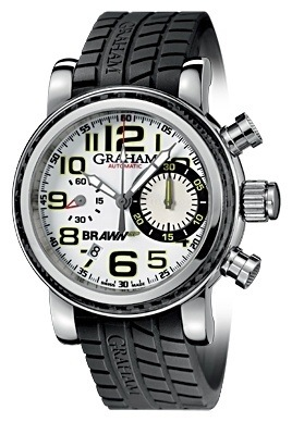 Graham Silverstone Brawn GP White Dial Black Rubber Men's Watch 2BRSH.W01A