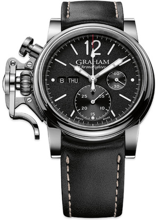 Graham Chronofighter Vintage Black Leather Men's Watch 2CVAS.B02A