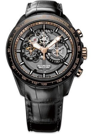 Graham Silverstone RS Skeleton Black Leather Rose Gold Men's Watch 2STAZ.B02A.C160H