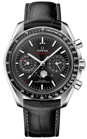 Omega Speedmaster Moonphase Co-Axial Master Chronometer Chronograph Black Dial Leather Strap Men's Watch 304.33.44.52.01.001