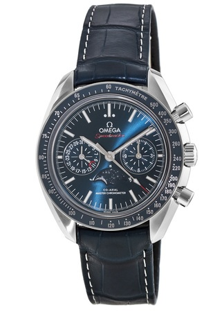 Omega Speedmaster Moonphase Co-Axial Master Chronometer Chronograph Blue Dial Leather Strap Men's Watch 304.33.44.52.03.001