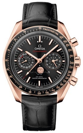 Omega Speedmaster Moonphase Co-Axial Master Chronometer Chronograph Black Dial Leather Strap Rose Gold Men's Watch 304.63.44.52.01.001