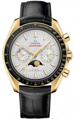 Omega Speedmaster Moonphase Co-Axial Master Chronometer Chronograph Leather Strap Yellow Gold Men's Watch 304.63.44.52.02.001