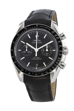 Omega Speedmaster Moonwatch Co-Axial Chronograph Black Dial Black Leather Men's Watch 311.33.44.51.01.001