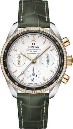 Omega Speedmaster Co-Axial Chronograph 38mm Diamond Steel And Yellow Gold Green Leather Women's Watch 324.28.38.50.02.001
