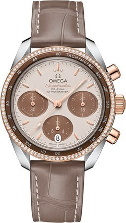 Omega Speedmaster Co-Axial Chronograph 38mm Diamond Steel And Rose Gold Brown Leather Women's Watch 324.28.38.50.02.002
