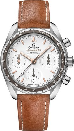 Omega Speedmaster Co-Axial Chronograph 38mm Silver Dial Brown Leather Women's Watch 324.32.38.50.02.001
