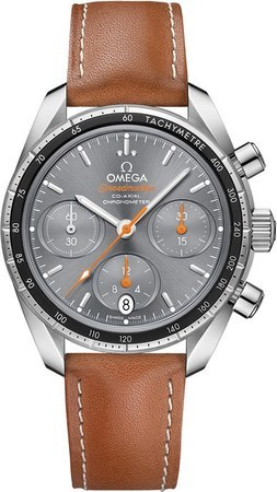 Omega Speedmaster Co-Axial Chronograph 38mm Grey Dial Brown Leather Unisex Watch 324.32.38.50.06.001