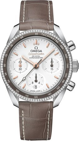 Omega Speedmaster Co-Axial Chronograph 38mm Diamond Silver Dial Brown Leather Women's Watch 324.38.38.50.02.001