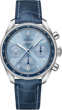 Omega Speedmaster Co-Axial Chronograph 38mm Diamond Ice Blue Dial Blue Leather Unisex Watch 324.38.38.50.03.001