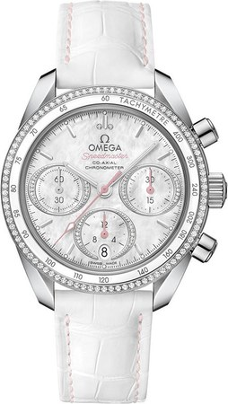 Omega Speedmaster Co-Axial Chronograph 38mm Diamond Mother of Pearl Dial White Leather Women's Watch 324.38.38.50.55.001
