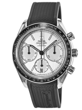 Omega Speedmaster Racing Chronometer Silver Dial Black Rubber Strap Men's Watch 326.32.40.50.02.001