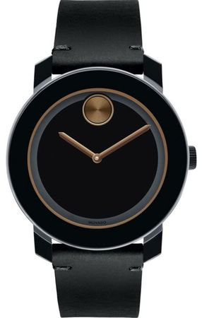 Movado Bold  42mm Black Leather Strap Men's Watch 3600297