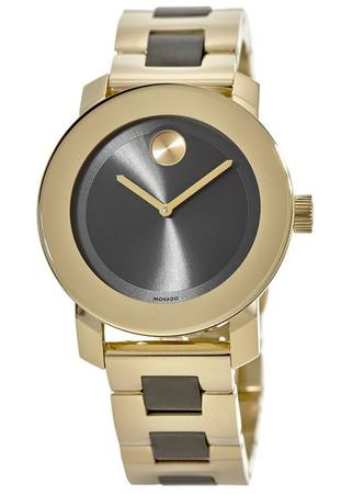 Movado Bold  Grey Sunray Dial Yellow Gold Tone Women's Watch 3600338