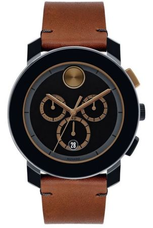 Movado Bold  44mm Chronograph Cognac Leather Strap Men's Watch 3600348