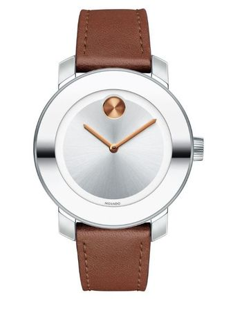 Movado Bold  Swiss Cognac Leather Strap Women's Watch 3600379