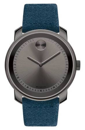 Movado Bold  Gunmetal Grey Dial Blue Suede Men's Watch 3600454