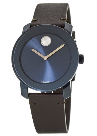 Movado Bold  Blue Sunray Dial Leather Strap Men's Watch 3600461