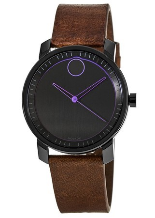 Movado Bold  Black Dial Brown Leather Men's Watch 3600488