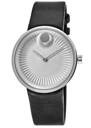 Movado Edge  Silver Dial Leather Strap Men's Watch 3680001