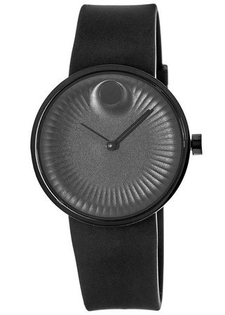 Movado Edge  Black Ion-Plated Rubber Strap Men's Watch 3680005