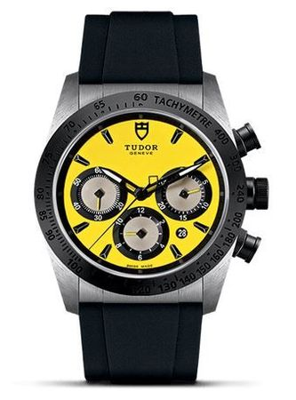 Tudor Fastrider Chronograph Yellow Dial Rubber Strap Men's Watch 42010N-0007