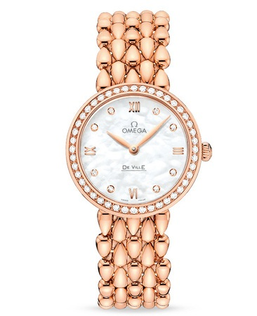 Omega De Ville Prestige Quartz 27.4mm Dewdrop Rose Gold Mother of Pearl Diamond Dial Diamond Bezel Women's Watch 424.55.27.60.55.004