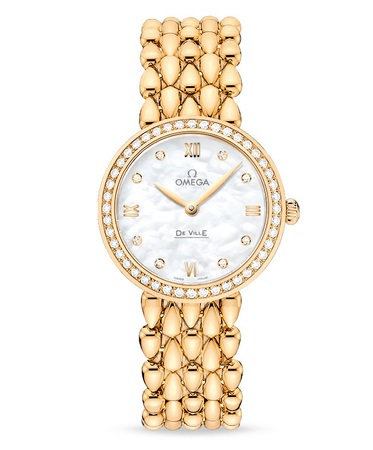 Omega De Ville Prestige  Dewdrop Yellow Gold Mother of Pearl Diamond Dial Diamond Bezel Women's Watch 424.55.27.60.55.006