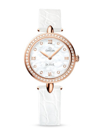 Omega De Ville Prestige  Dewdrop Rose Gold Mother of Pearl Diamond Dial Diamond Bezel Women's Watch 424.58.27.60.55.002