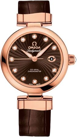 Omega De Ville Ladymatic Rose Gold Brown Leather Women's Watch 425.63.34.20.63.001