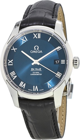 Omega De Ville Chronometer Blue Dial Leather Strap Men's Watch 431.13.41.21.03.001