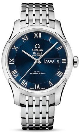 Omega De Ville Annual Calendar Hour Vision Blue Dial Men's Watch 433.10.41.22.03.001
