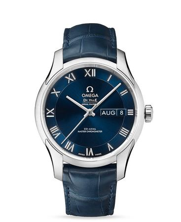 Omega De Ville Annual Calendar Hour Vision Blue Dial Blue Leather Men's Watch 433.13.41.22.03.001