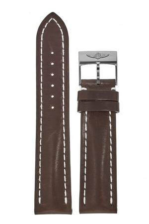 Breitling Leather 22-20mm Brown Calf Leather Tang Buckle Men's Strap with Buckle 437X-A20BA.1