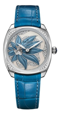 Zenith Star  Blue Enameled Flower Dial 18k White Gold Women's Watch 45.1972.681/36.C757
