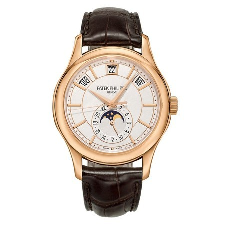 Patek Philippe Annual Calendar Moonphase  Rose Gold Brown Leather Men's Watch 5205R-001