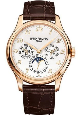 Patek Philippe Grand Complications Perpetual Calendar Rose Gold Brown Leather Men's Watch 5327R-001