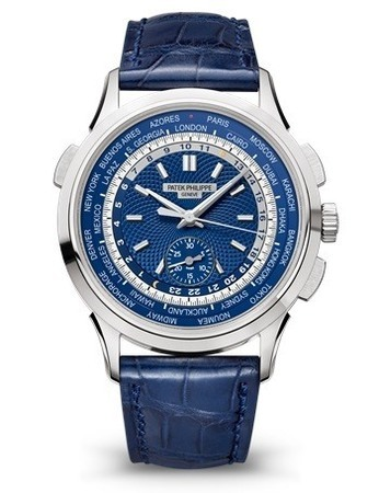 Patek Philippe Complications World Time Chronograph Blue Dial Men's Watch 5930G-001