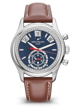 Patek Philippe Complications Annual Calendar Flyback Chronograph Blue Dial Brown Leather Men's Watch 5960/01G