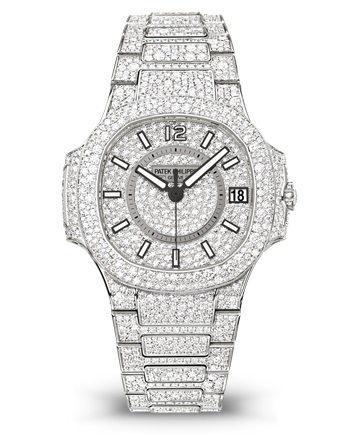 Patek Philippe Nautilus  Fully Paved Diamonds Women's Watch 7021/1G-001